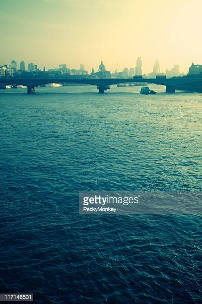 Cityscape of London and River Thames Vertical