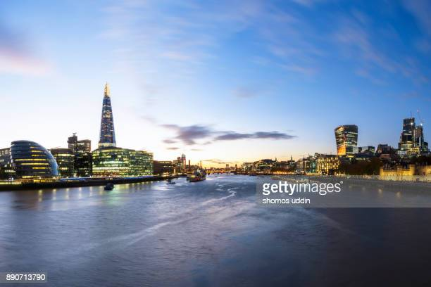Cityscape of London at twilight
