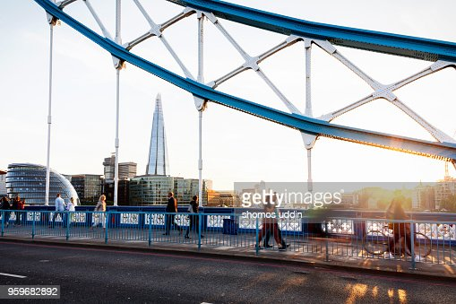 Cityscape of London skyline with people in the foreground at sunset