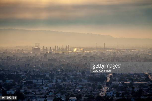cityscape of long beach and the andeavor refinery in carson - carson california stock pictures, royalty-free photos & images