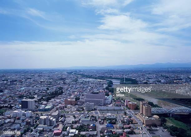 cityscape of maebashi, maebashi, gunma, japan - maebashi city stock photos and pictures