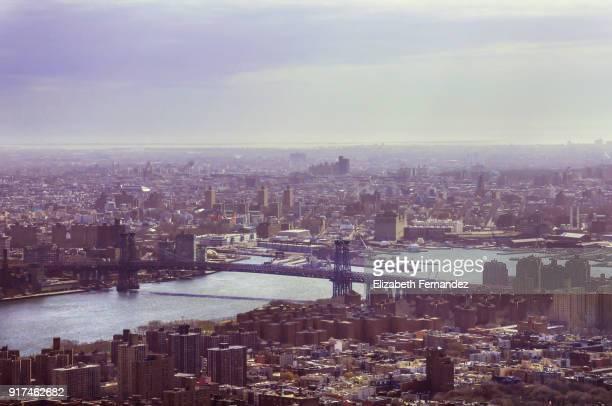 Cityscape of Manhattan city and Williamsburg bridge
