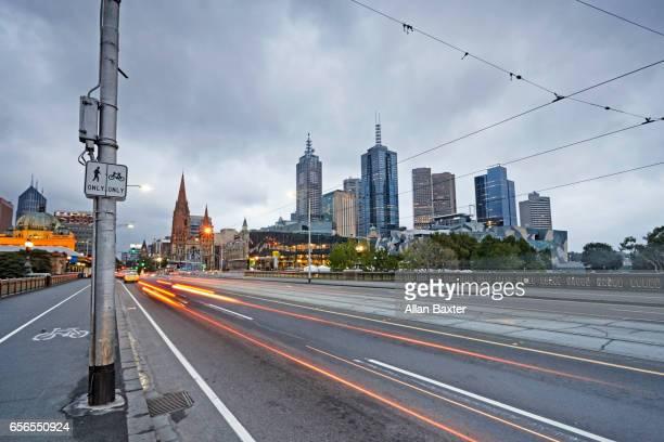 Cityscape of Melbourne city centre at dusk