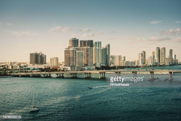 cityscape of miami with coastline - miami dade county stock photos and pictures