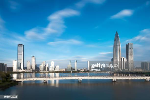cityscape of modern city in shenzhen - shenzhen stock pictures, royalty-free photos & images