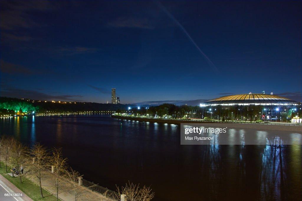 Cityscape of Moscow with Luzhniki Stadium at dusk : Stock-Foto