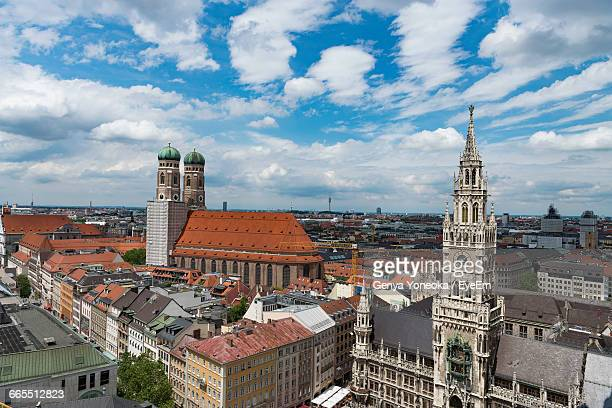 Cityscape Of Munich Against Cloudy Sky