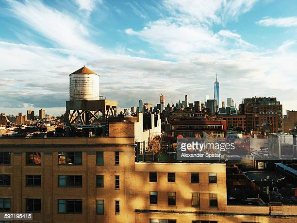 Cityscape of New York city at sunset, USA
