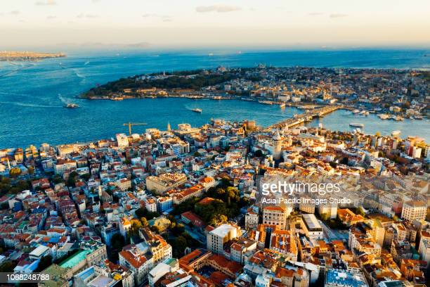 cityscape of of istanbul at dusk, turkey - istanbul stock pictures, royalty-free photos & images
