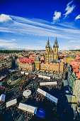 Cityscape of Old Town Square and Easter Marketplace in Prague