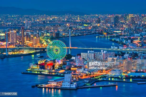 cityscape of osaka bay - osaka prefecture stock pictures, royalty-free photos & images
