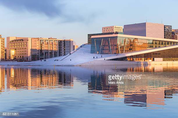 cityscape of oslo, norway. - opernhaus stock-fotos und bilder