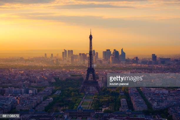 cityscape of Paris and eiffel tower at dusk ( France , Europe )