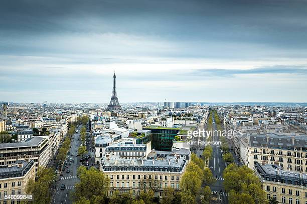 Cityscape of Paris and the Eiffel Tower from atop the Arch de Triomph.