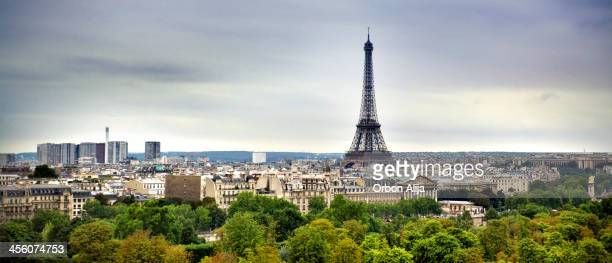 Cityscape of Paris with Eiffel Tower on cloudy day