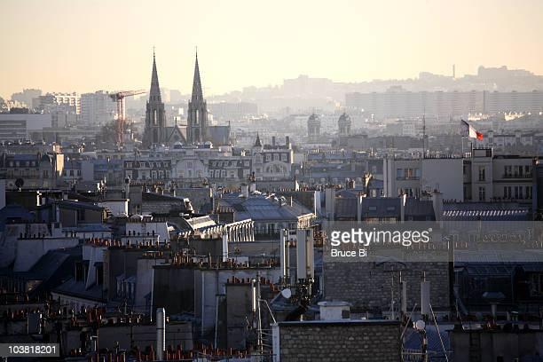 cityscape of paris with saint clotilde basilica in background, saint-germain-des-pres district. - サンジェルマンデプレ ストックフォトと画像