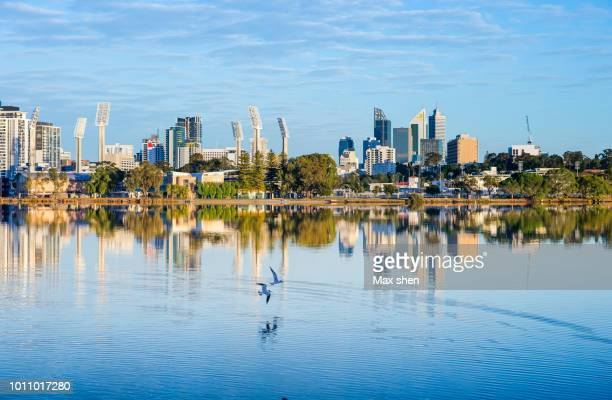 cityscape of perth - perth australia stock photos and pictures