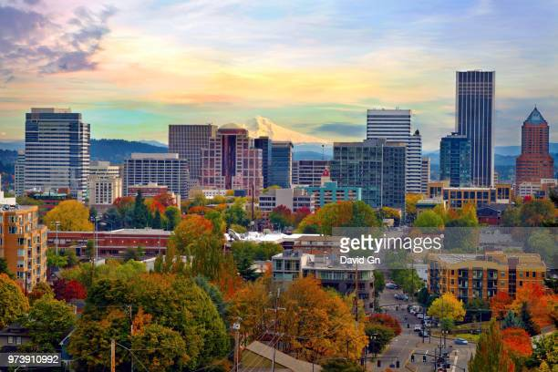 Cityscape of Portland with Mount Hood in background, Oregon, USA