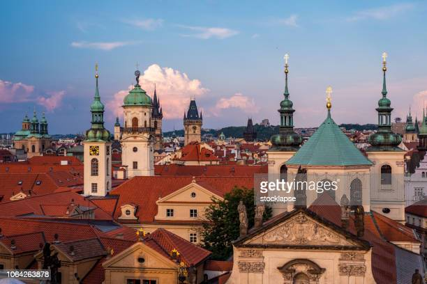 cityscape of prague with a lot of domes - czech republic stock pictures, royalty-free photos & images