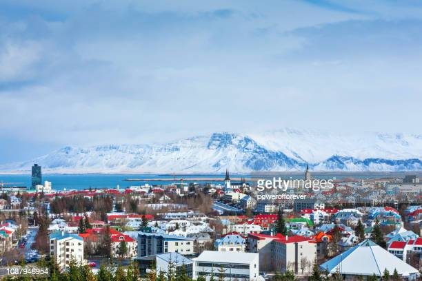 cityscape of reykjavik, iceland - reykjavik stock pictures, royalty-free photos & images