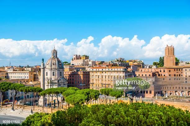 Cityscape of Rome, Church of Santa Maria di Loreto, Via dei Fori Imperiali, Foro di Traiano, Trajans Forum, historic centre, Rome, Lazio, Italy