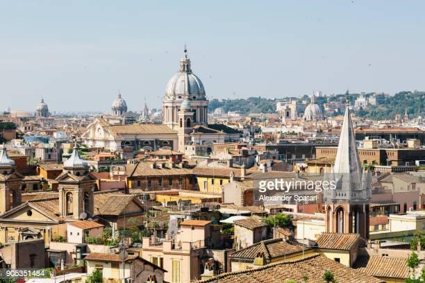 cityscape of rome on a sunny day, lazio, italy - bairro antigo imagens e fotografias de stock