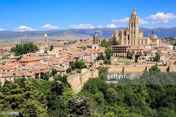 Cityscape of Segovia in Spain, showing the cathedral