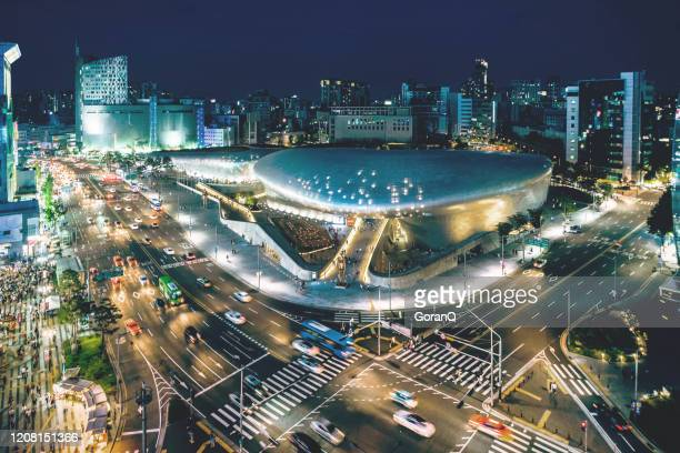 cityscape of seoul at dusk, south korea - seoul stock pictures, royalty-free photos & images