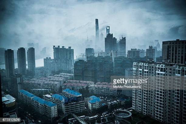 cityscape of shanghai - smog stock pictures, royalty-free photos & images