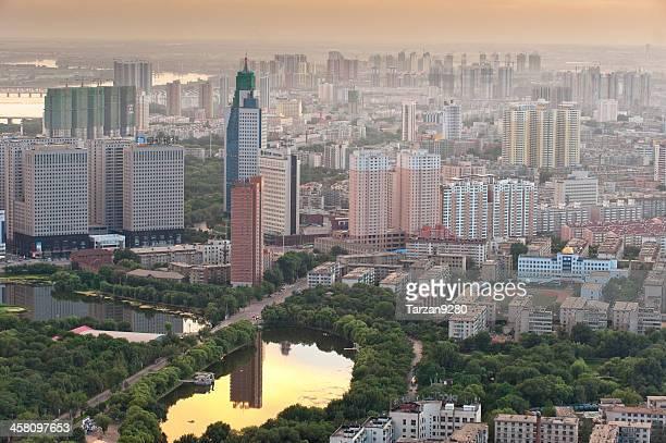 Stadtansicht von Shenyang bei Sonnenuntergang moment, China