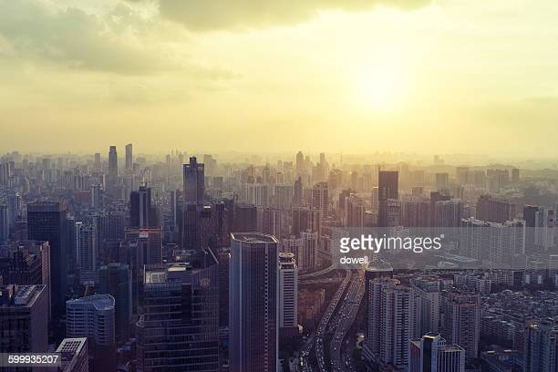 Cityscape of Shenzhen at dawn