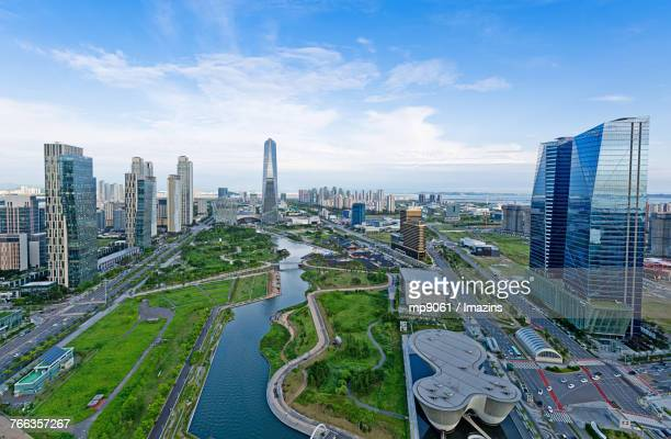 cityscape of songdo - songdo ibd stock pictures, royalty-free photos & images