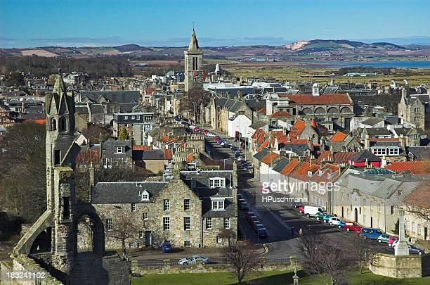 cityscape of st andrews showing a view towards mountains - st. andrews scotland stock pictures, royalty-free photos & images