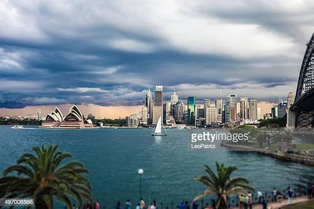 Cityscape of Sydney Downtown and Harbor Bridge