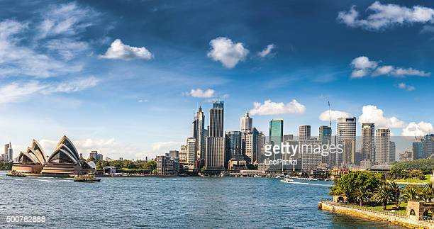 cityscape of sydney downtown and harbor bridge - sydney stock pictures, royalty-free photos & images