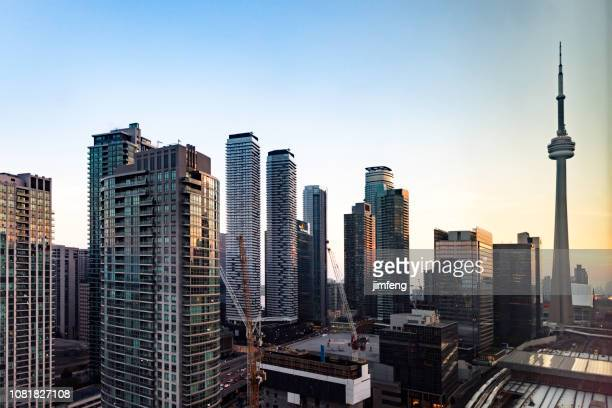 cityscape of the financial district in toronto - tower stock pictures, royalty-free photos & images