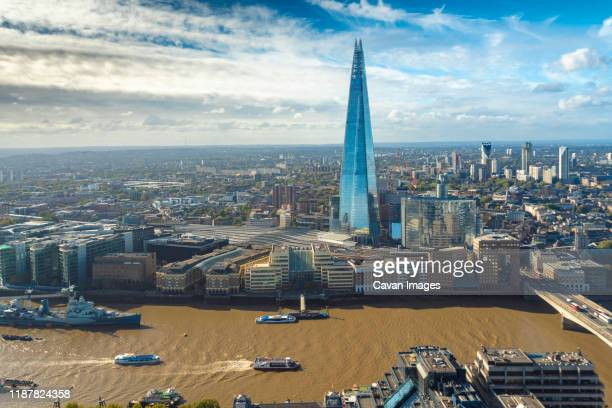 cityscape of the thames, the shard and the skyline of the south bank - river thames stock pictures, royalty-free photos & images