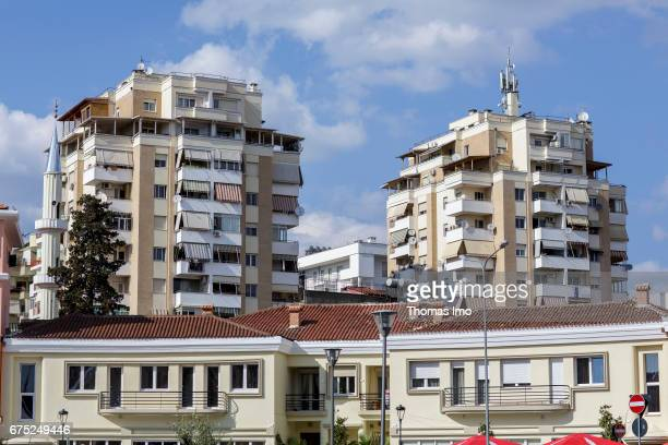 Cityscape of Tirana on March 27 2017 in Tirana Albania