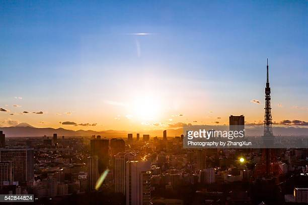 Cityscape of Tokyo at sunset elevated view, Japan.