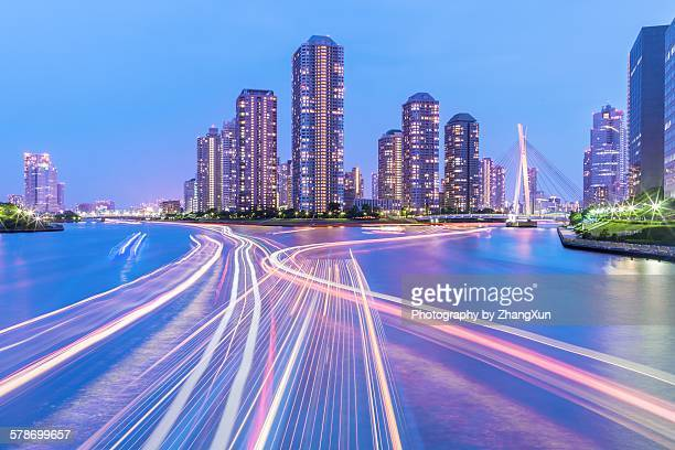 Cityscape of Tokyo Tsukishima at night