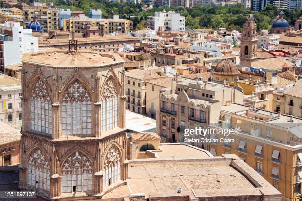 cityscape of valencia from the top of valencia cathedral, spain, europe - valencia stock pictures, royalty-free photos & images