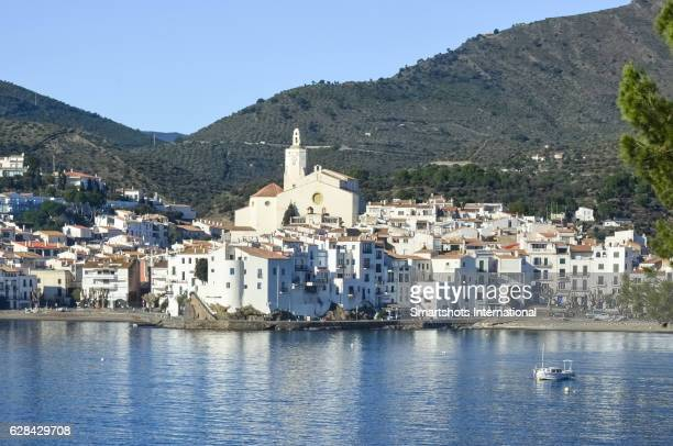 cityscape of white mediterranean village of cadaques in costa brava, catalonia, spain - cadaques stock pictures, royalty-free photos & images