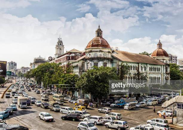 cityscape of yangon city, myanmar - yangon stock pictures, royalty-free photos & images