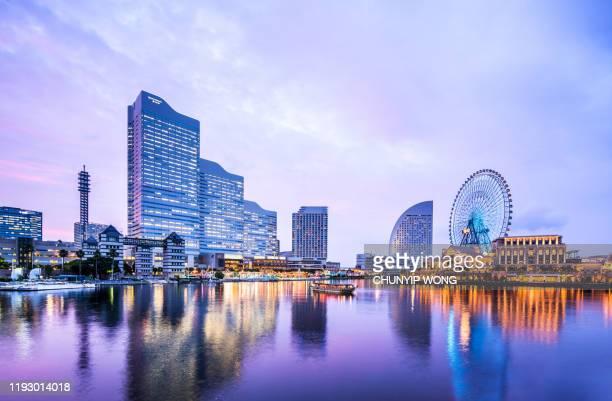 cityscape of yokohama minatomirai in yokohama city, kanagawa prefecture, japan - yokohama stock pictures, royalty-free photos & images
