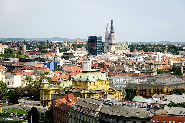 paesaggio urbano di zagabria, croazia - ogphoto foto e immagini stock