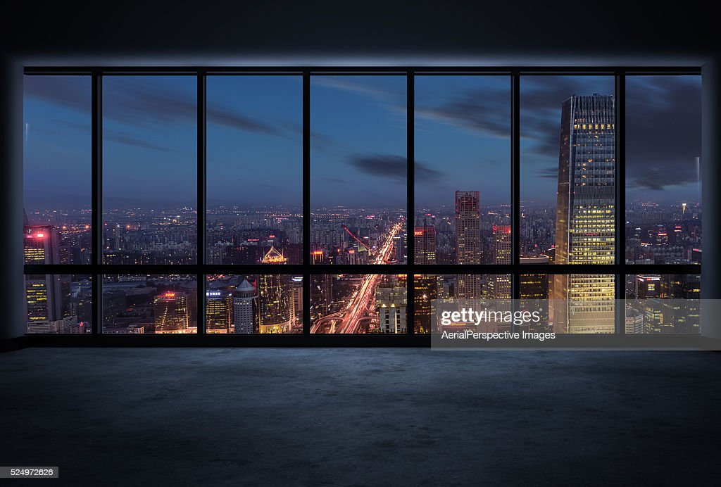 Cityscape Outside The Windows At Night Stock Photo