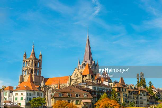 cityscape over lausanne in a sunny day - vaud canton stock photos and pictures