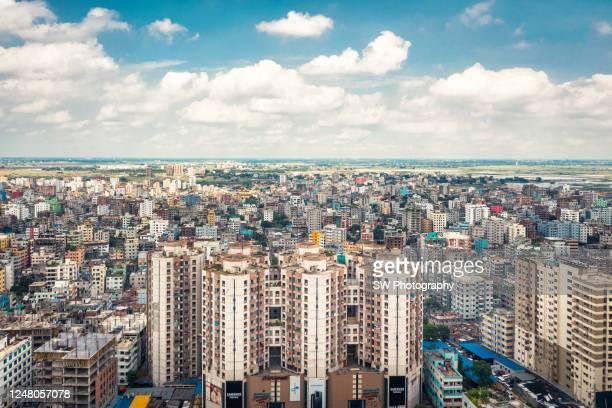 cityscape photo of dhaka, bangladesh - bangladesh stock-fotos und bilder