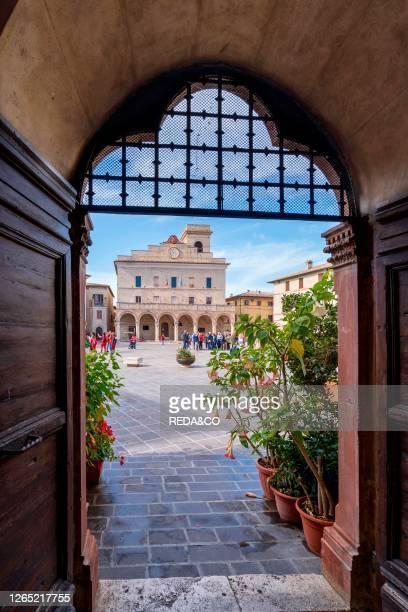 Cityscape. Piazza del Comune square. Montefalco. Umbria. Italy. Europe.