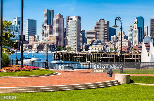 A cityscape picture in East Boston Pier Park during the day